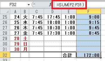 エクセルでの勤務時間を計算する出退勤管理表の作り方